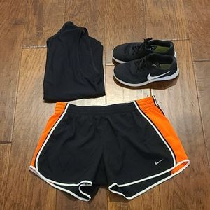 NIKE black and orange shorts